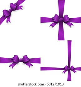 Shiny purple satin ribbon on white background. Purple bow and purple ribbon. EPS 10 vector file included