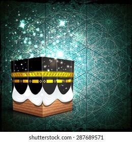 Shiny Qaba Shareef on seamless green background for Islamic holy month of prayers, Ramadan Kareem celebration.