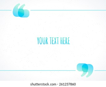 Shiny quotation marks vector frame. Textured background. Place for your text