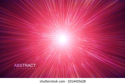Shiny radial burst with linear particles. Vector absrtact illustration of Big Bang. Background with dispersion of light. Shiny light rays. Flashing beams. Warp speed concept