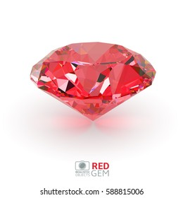 Shiny realistic 3d red diamond or ruby isolated on white background, front view, vector illustration