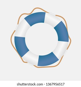 Shiny realistic life buoy with rope, blue and white, assistance or help symbol isolated on white background. vector art illustration. can be used for topics like security, sea, swimming, holiday
