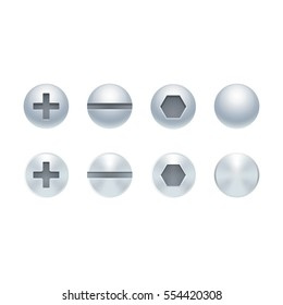 Shiny realistic metal screw and bolt heads set. Isolated vector design elements.
