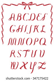 Shiny Red Christmas ribbon alphabet