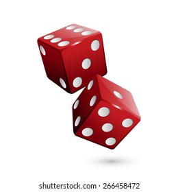 Shiny red dices on the white background - Vector illustration
