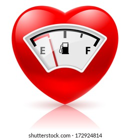 Shiny red heart with fuel indicator as symbol of health or love