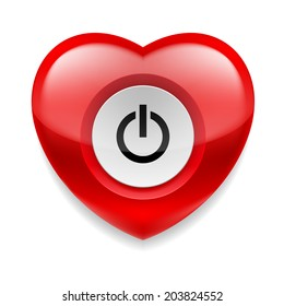 Shiny red heart with power button on white background. Love or health concept