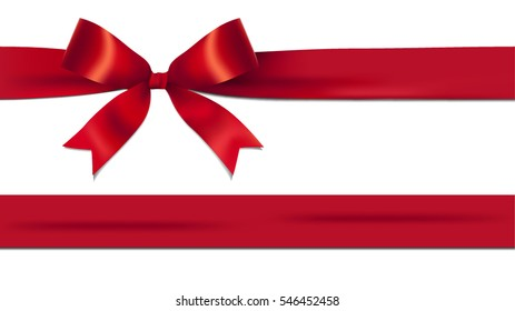 Shiny red ribbon bow isolated on white background with copy space. For using special days.