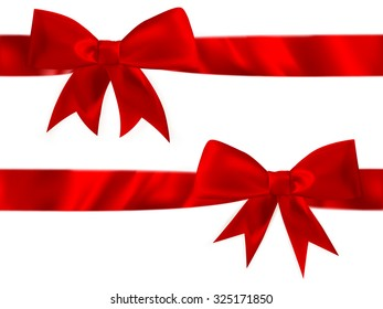 Shiny red satin bow Set on white background. EPS 10 vector file included