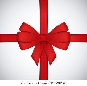 Shiny red satin ribbon bow isolated on white background.