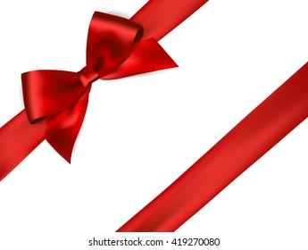 Shiny red satin ribbon on white background. Vector red bow. Red bow and red ribbon.