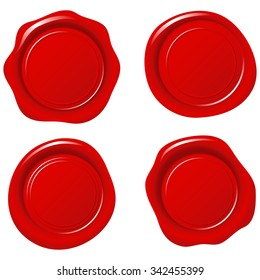 Shiny Red Wax Seals - Set of 4 seals.  Colors are global, so they can be modified easily.  Each element is grouped separately.