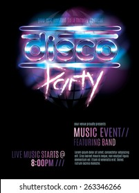 Shiny retro 80s party or disco party invitation template