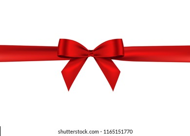 Shiny satin realistic red bow and ribbon for decorative your greeting card ,brochure or website,vector isolated on white background.