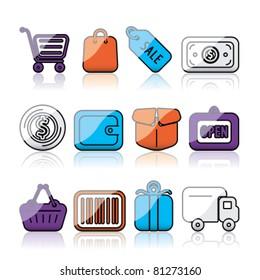 shiny shopping icons