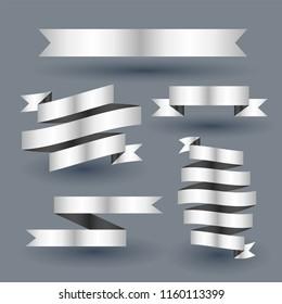 shiny silver ribbon banner set