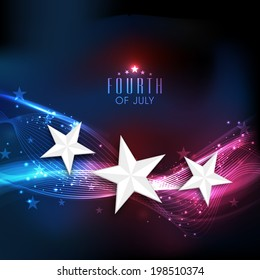 Shiny silver stars on national flag colors waves background for 4th of July, American Independence Day celebrations.