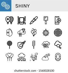 shiny simple icons set. Contains such icons as Buttons, Balloon, Heated towel rail, Drop, Hand mirror, Play button, Chocolate egg, Cloud, can be used for web, mobile and logo
