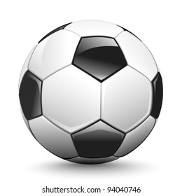 Shiny soccer ball waiting to be kicked, vector