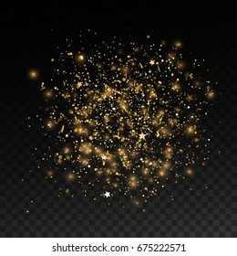 Shiny stain of golden particles, glitters and sparkles. Shimmer burst. Golden powder explosion. Sparkling texture isolated on transparent background. Decoration element for design. Vector illustration