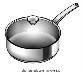 A shiny stainless steel saucepan - for pasta, sauce and soup.