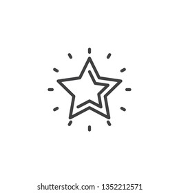 Shiny star line icon. linear style sign for mobile concept and web design. Star shine outline vector icon. Best choice, favorite symbol, logo illustration. Pixel perfect vector graphics