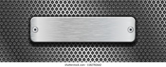 Shiny steel plate with rivets on metal perforated background. Vector 3d illustration