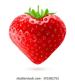 Shiny strawberry heart with green leaves isolated on white background