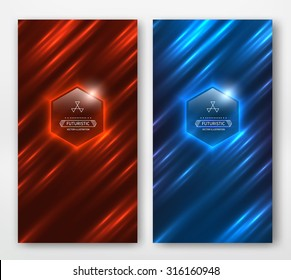 Shiny striped motion background. Red and blue card.