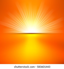 Shiny summer sun lights, vector banner & background design.