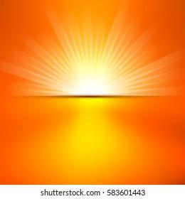 Shiny summer sun lights, vector banner & background design.