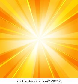 Shiny sun radiator vector background. Sunny rays radiating light yellow pattern