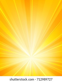 Shiny sun rays radiator background. Burst sunlight with radiating heat beams summer vector illustration