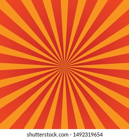 shiny sun rays vector background, yellow and orange color.