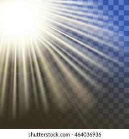 shiny sun vector, sunbeams, sunrays, sunshine design. Yellow warm light effect, sun rays, beams on transparent background.