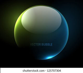 Shiny transparent bubble over a dark background - vector