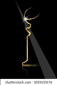 Shiny trophy Golden Globe, abstract modern sculpture. Academy award icon in flat style isolated. Gold Silhouette statue icon. Films and cinema symbol stock vector illustration.
