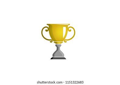 Shiny Trophy Logo Design Illustration