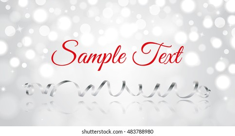 Shiny vector banner with realistic festive silver ribbon. For posters, sale banners, invitations.