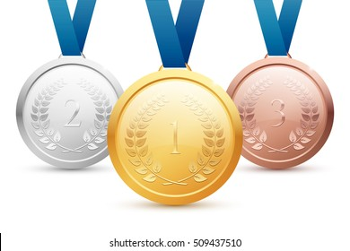 Shiny vector gold, silver and bronze medal set with blue ribbons