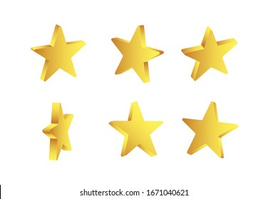 Shiny vector golden 3d stars isolated on white background.