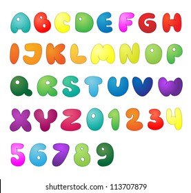 Shiny vector letters and numbers