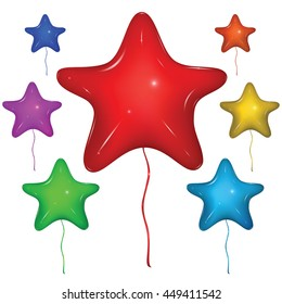 Shiny vector star balloons with strings. Color set: red, green, blue, purple, orange, yellow. Isolated on white background.