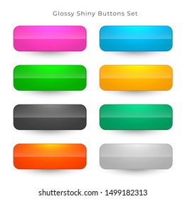 shiny web buttons in eight colors set