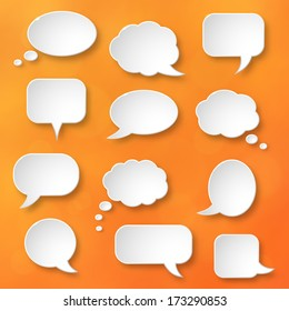 Shiny white paper bubbles for speech on an orange background. Abstract design. Vector illustration.