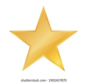 Shiny yellow star icon isolated on white background. Vector illustration