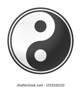 A shiny yin and yang design isolated on a white background
