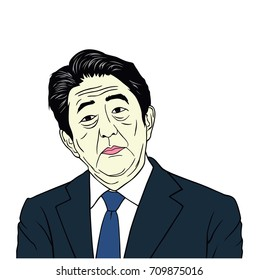 Shinzo Abe Prime Minister of Japan Portrait Flat Vector Design Illustration, September, 2017.