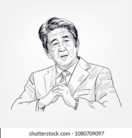 Shinzo Abe vector sketch portrait