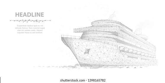 Ship. Abstract vector luxury cruise liner ship isolated on white background with dots. Recreation, ocean travel, comfort relax, success symbol. Sea tourism, holyday vacation concept